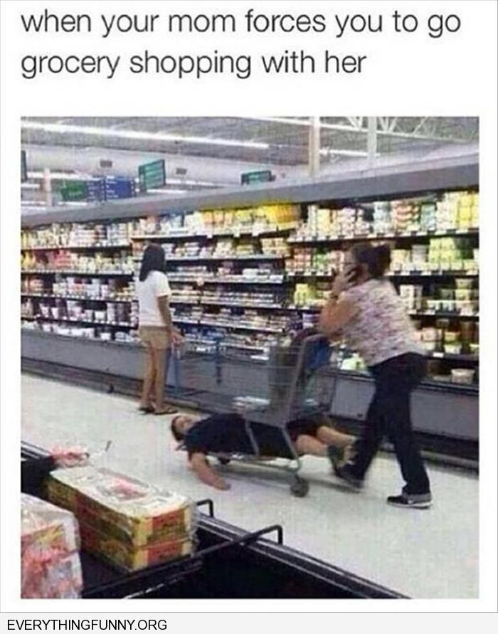 funny captions when you are dragged to the store with your mom kid lying on bottom of wagon shopping cart