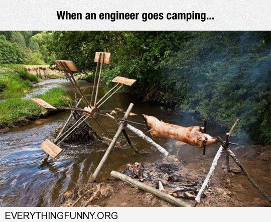 funny caption windmill bbq pit pig roaster when an engineer goes camping spit