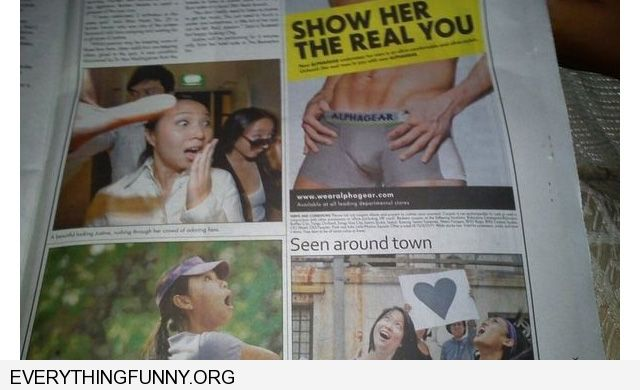 funny ad placement show her the real you underwear ad women looking shocked around him