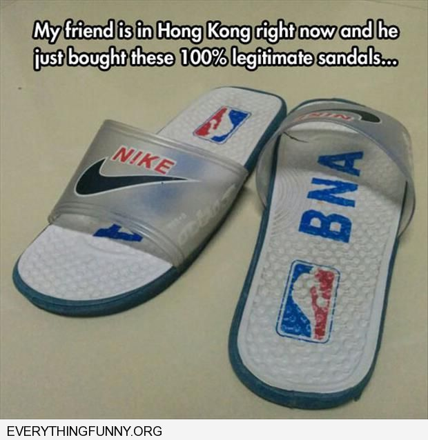 funny caption funny knock off sandals from Hong Kong say BNA instead of NBA