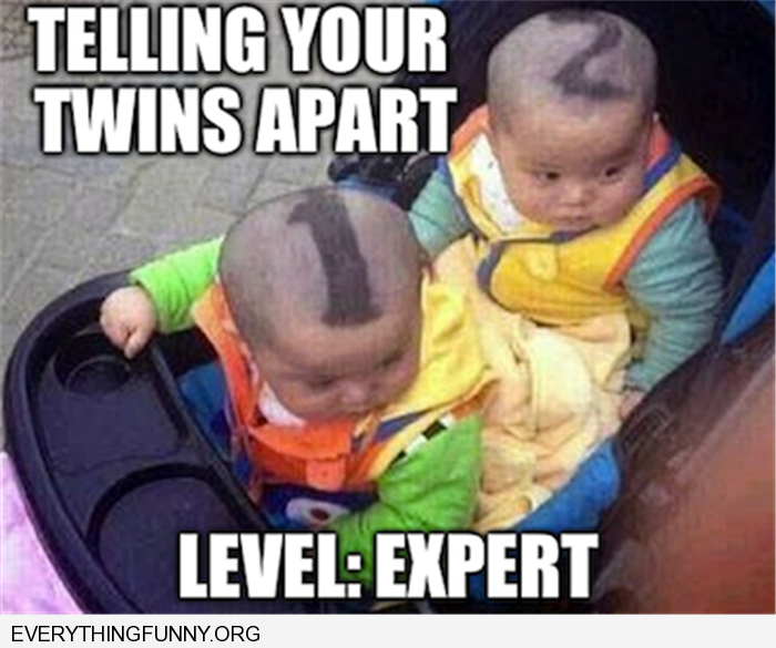 funny captions twins 1 and 2 haircut