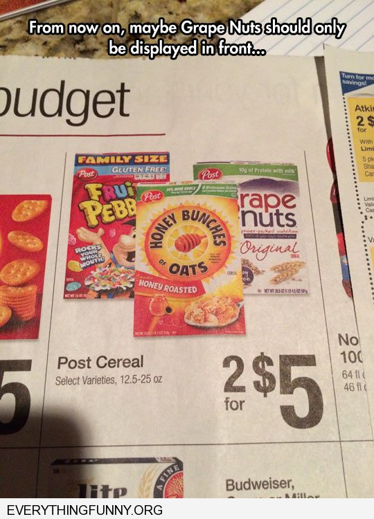 funny ad grape nuts cereal in back of ad reads rape nuts box should be in front