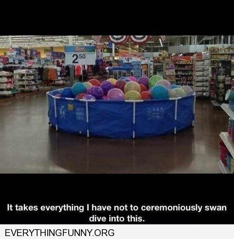funny caption it's taking everything i have not to dive into this ballpit at the store