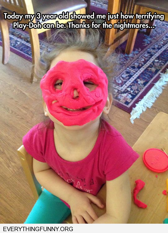 funny caption 3 year old shows just how scary play doh can be as mask