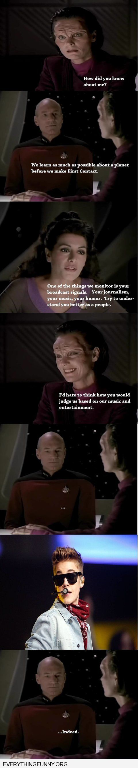 funny caption star trek clip aliens judging out planet by our music justin beiber