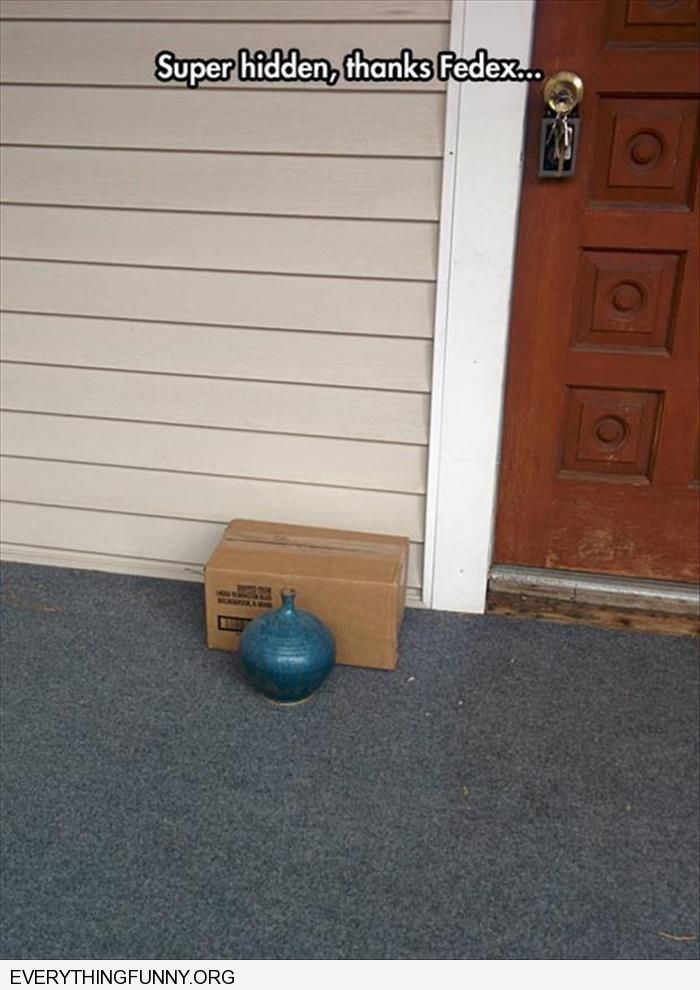 funny caption fed ex tries to hide big box behind small planter