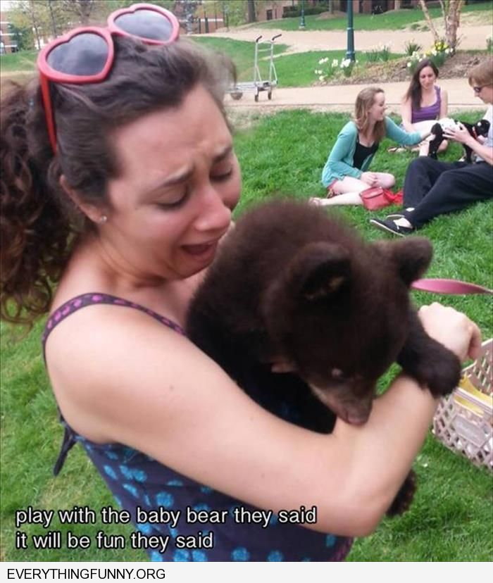funny caption play with the bear they said it will be fun they said bear bites woman