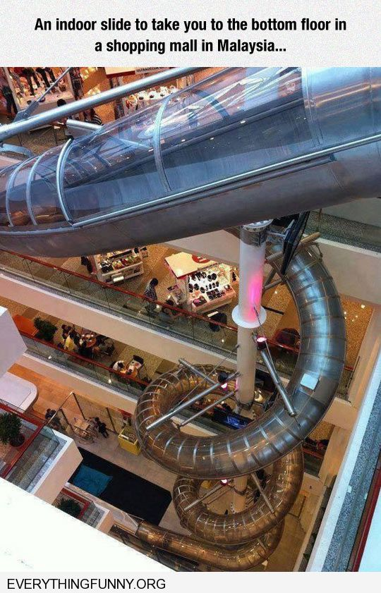 funny indoor slide in mall takes you all the way to bottom floor in Malaysia