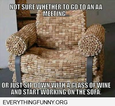 funny chair made completely from wine corks not sure if i'm an alcoholic or should get started on the couch