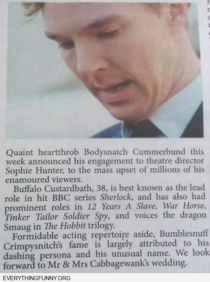 funny article bodysnatach cummerband they keep changing his name to the more ridiculous