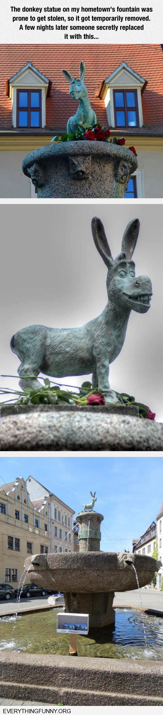 funny donkey statue replaced with donkey statue from Shrek