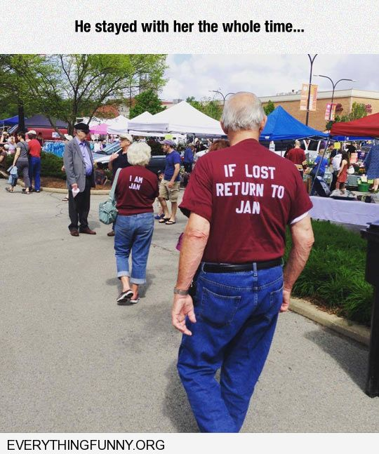 funny caption older man and woman man's shirt reads if lost return to jan she wore shirt that said i am jan