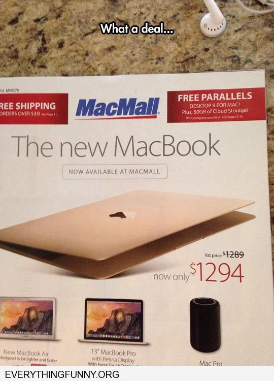 funny caption what a great deal macbook was $1289 now $1294