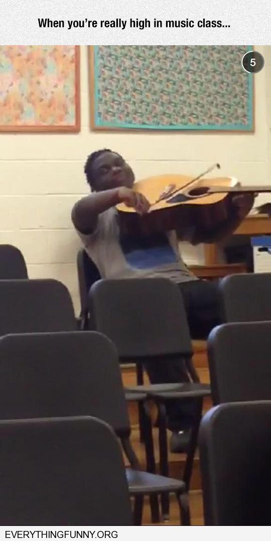 funny caption when you're really high in music class using bow with guitar