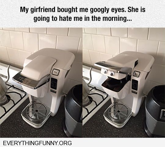 funny husband puts google eyes on coffee maker to freak out wife face