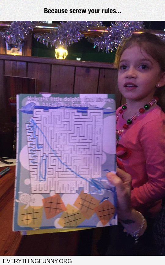 funny kid draws line right across maze because screw your rules