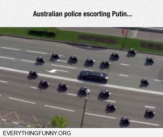 funny caption australian police escorting putin security cars in shape of penis phallic