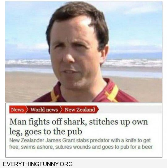 funny headlines news story toughtest man in world man fights off shark stitches self up goes to pub