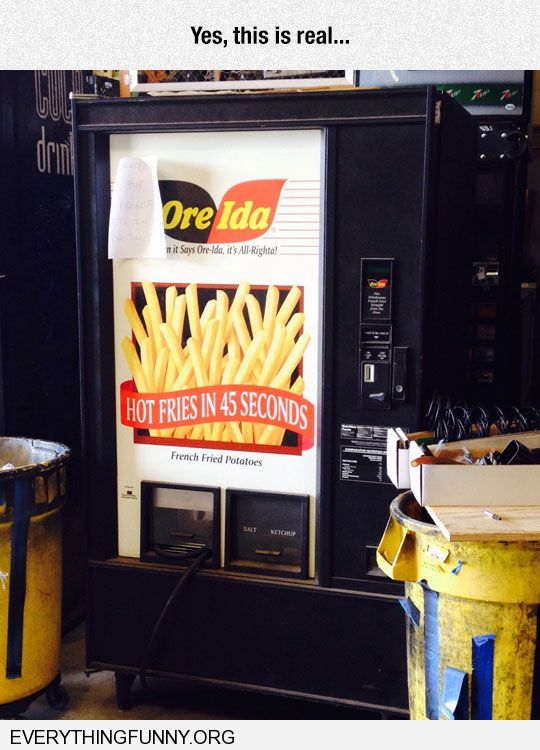 funy caption french fry fri vending machine ore ida yes this is real