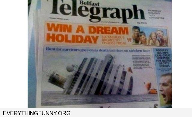 funny caption win a dream holiday ad over a sinking cruise hip article