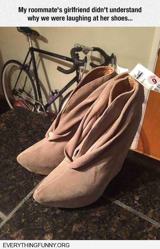 funny friend does not understand why we are laughing at her shoes they look like vaginas