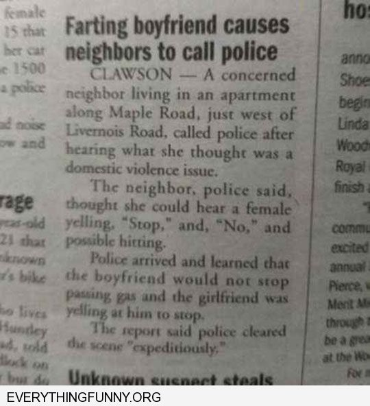 funny caption headlines farting boyfriend promts neightbors to call police