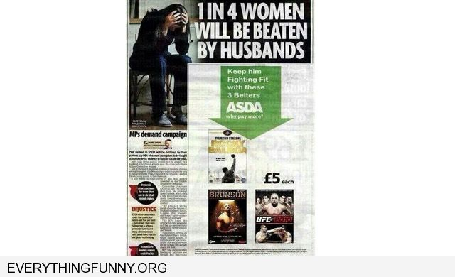 funny bad ad placement boxing ads under article about 1 in 4 wives beaten by husbands spousal abuse