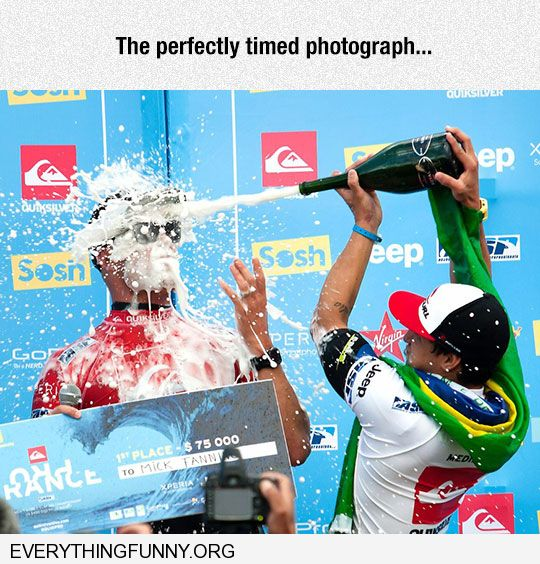 funny caption perfectly timed photo man getting champagne in the face