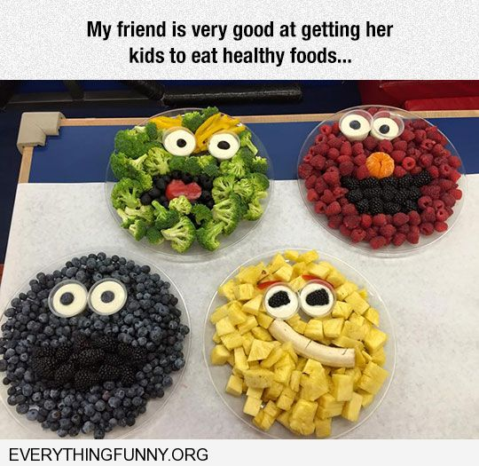 funny caption my friend is very good at making her kids eat healthy fruit in from of sesame street faces