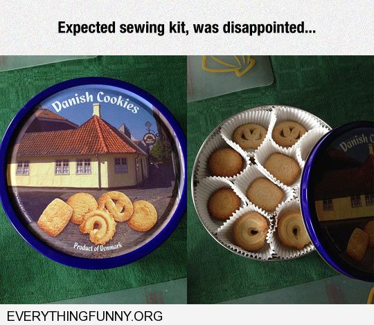 funny cookie tin was looking for sewing kit was disappointed filled with cookies