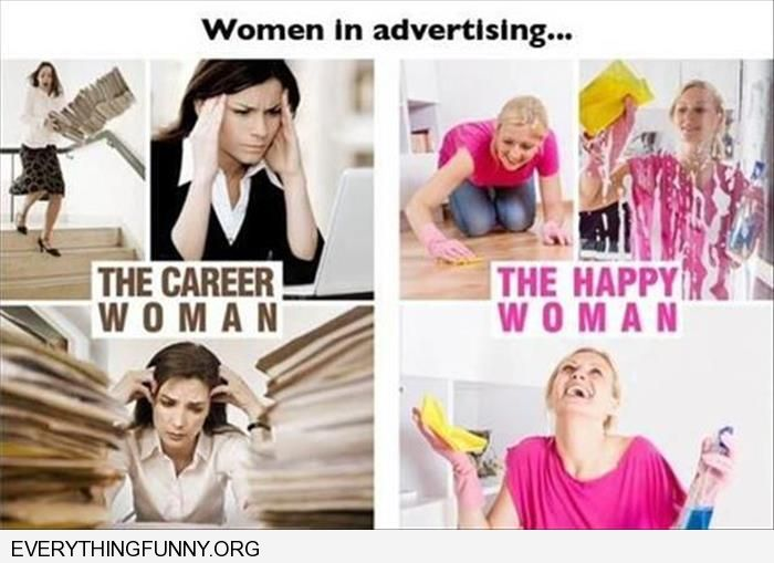 funy caption women working portrayed as miserable women cleaning house happy advertising