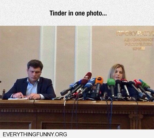 funny caption tinder in one photo all microphones in front of woman none in front of man