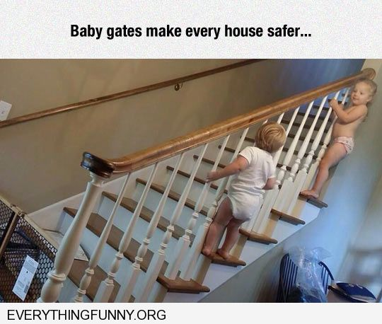 funny caption baby gate on stairs supposed to keep kids safe kids climb outside of staircase