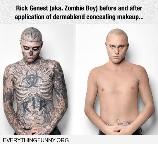 funny caption tattoos covered with dermablend makeup best makeup ad ever