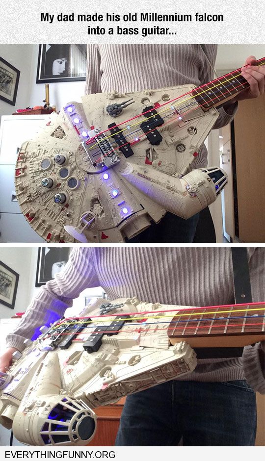 funny dad makes guitar out of Millennium Falcon Star Wars