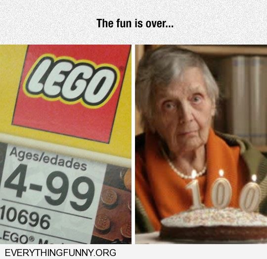 funny caption lego ages 4-99 woman 100th birthday the fun is over