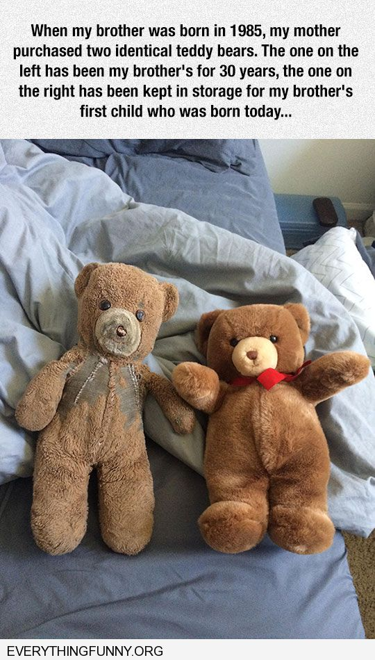 funny caption mom buys identical teddy bears for son and first grandson years later