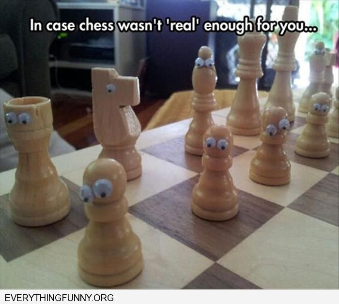 funny caption chess board with google googly eyes make it more real