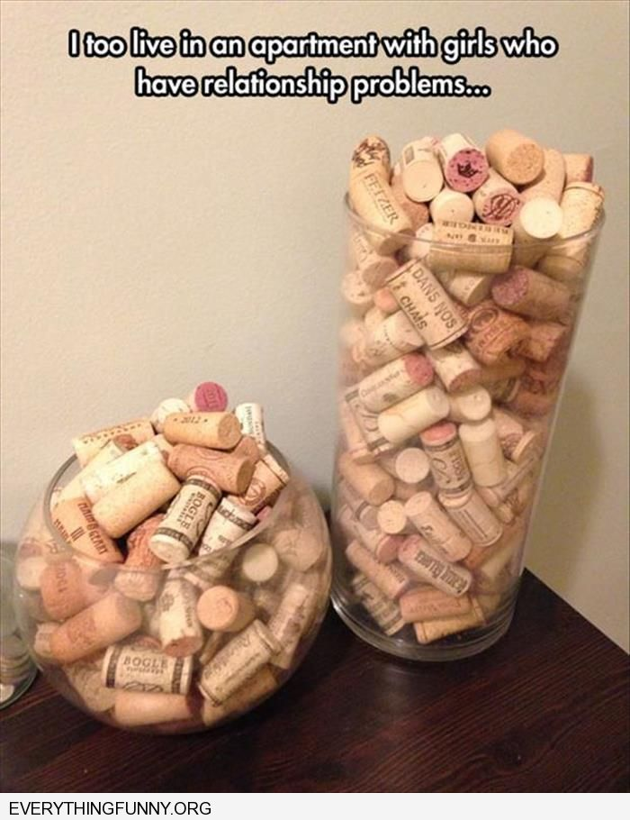 funny caption i too live with girls who have relationship issues vases filled with wine corks