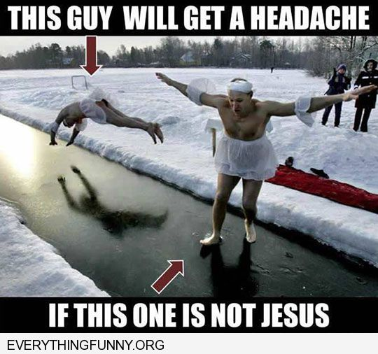 funny caption perfectly timed shot man dives onto ice as other man walks onto ice going to get a scar unless this man is Jesus