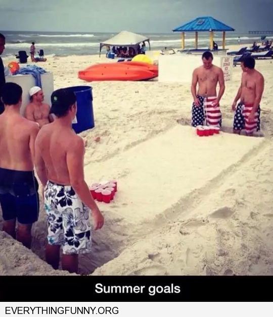 funny beer pong table made of sand at beach creative homemade