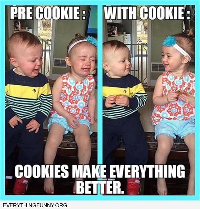 funny unhappy little girl and boy without cookie both happy with a cookie