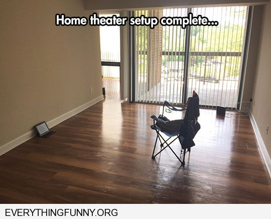 funny caption home theater set up complete laptop folding chair