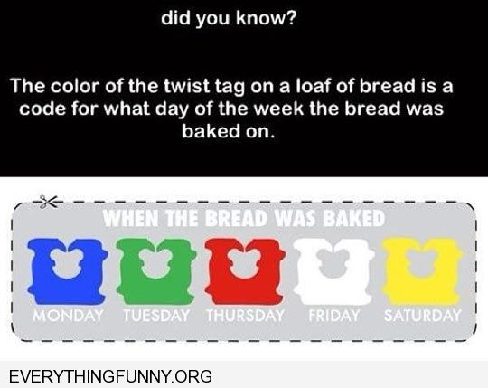 funny colored bread ties to tell what day of week break was made colored bread clips fresh bread