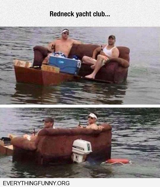 funny caption redneck yacht club floating sofa with motor attached and cooler