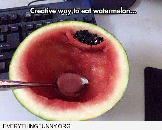 funny caption creative way to eat watermelon create crevass for seeds