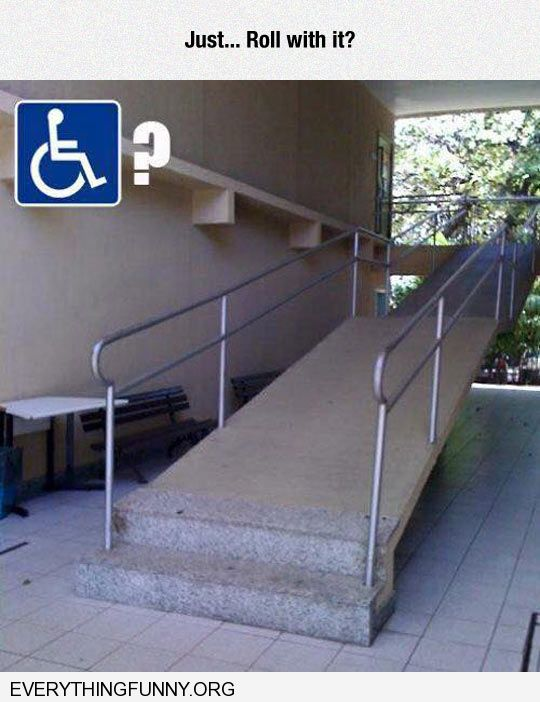 funny disability ramp has steps stairs
