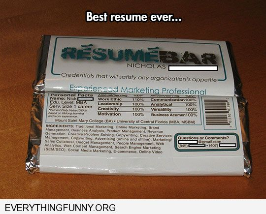 funny candy bar resume best ever