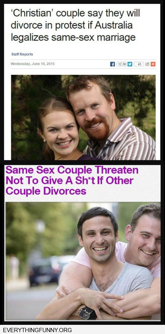 funny caption couple threatens to divorce if Australia legalizes same sex marriage nobody cares gay couples