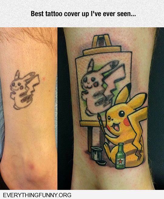 funny caption best tattoo cover up ever pokemon painted by better pokemon
